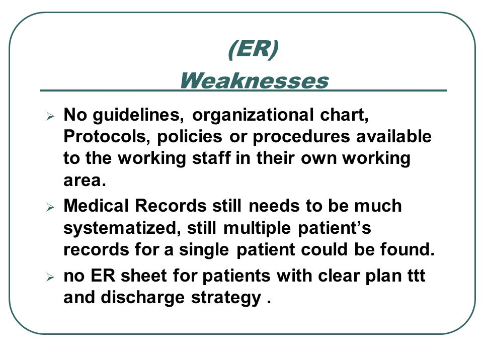 (ER) Weaknesses. No guidelines, organizational chart, Protocols, policies or procedures available to the working staff in their own working area.
