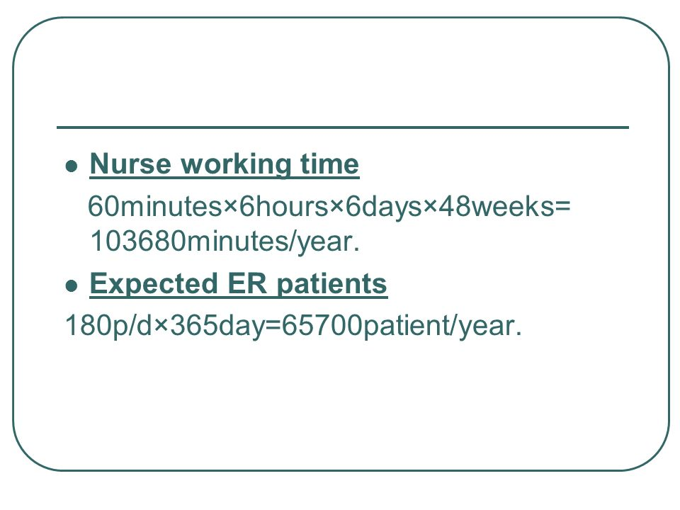 Nurse working time 60minutes×6hours×6days×48weeks= 103680minutes/year.