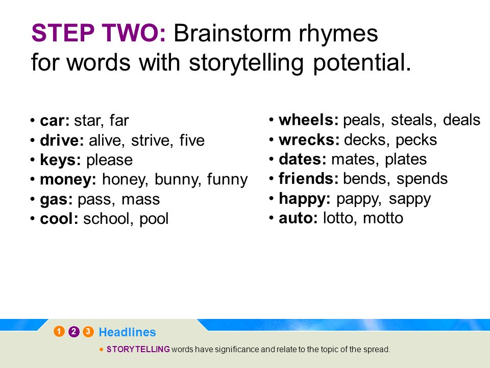 STEP TWO: Brainstorm rhymes for words with storytelling potential.