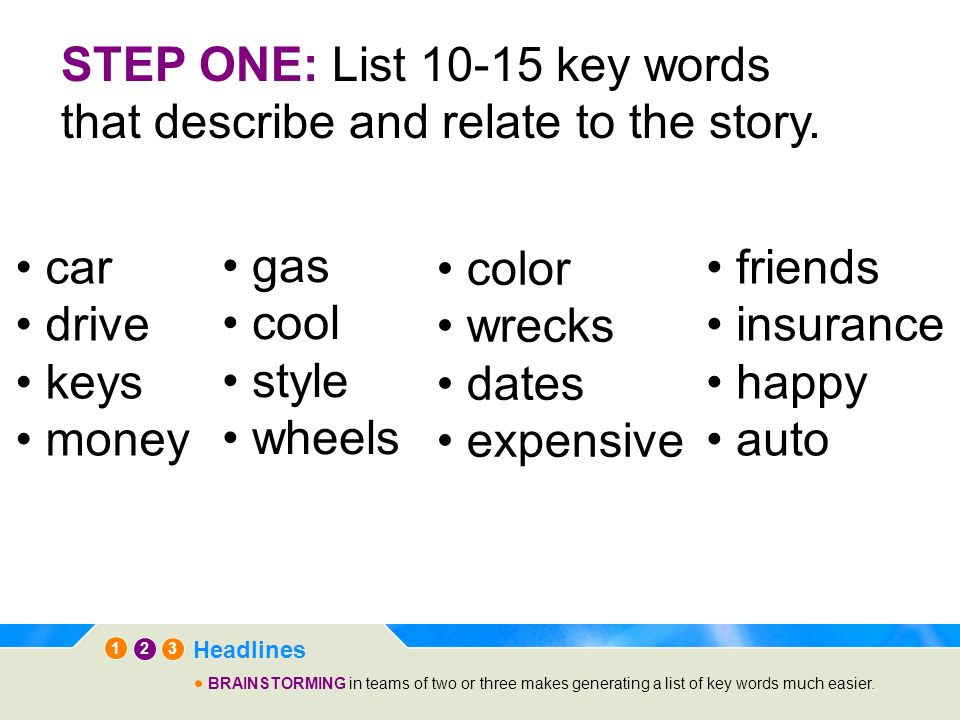 STEP ONE: List 10-15 key words that describe and relate to the story.