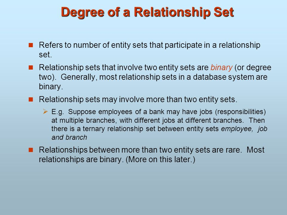 Degree of a Relationship Set