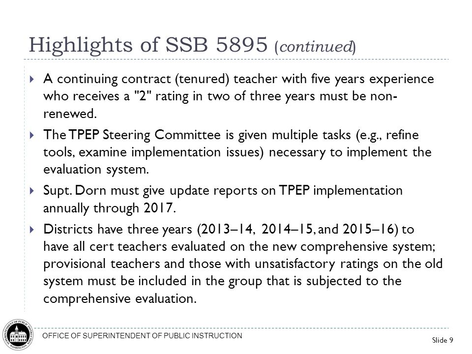 Highlights of SSB 5895 (continued)