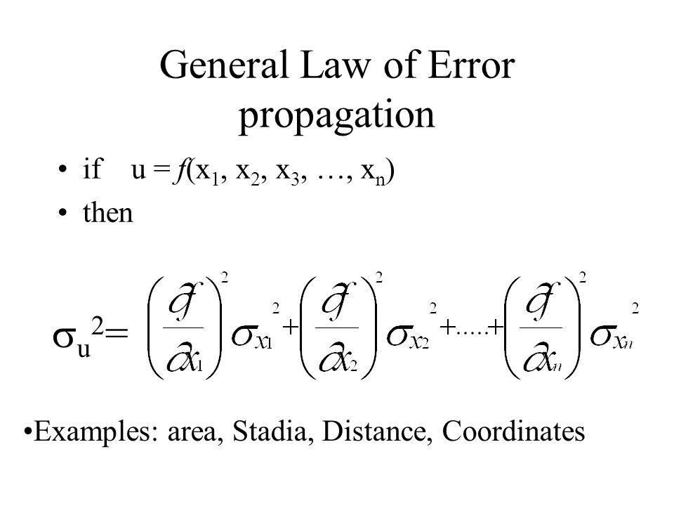 General Law of Error propagation