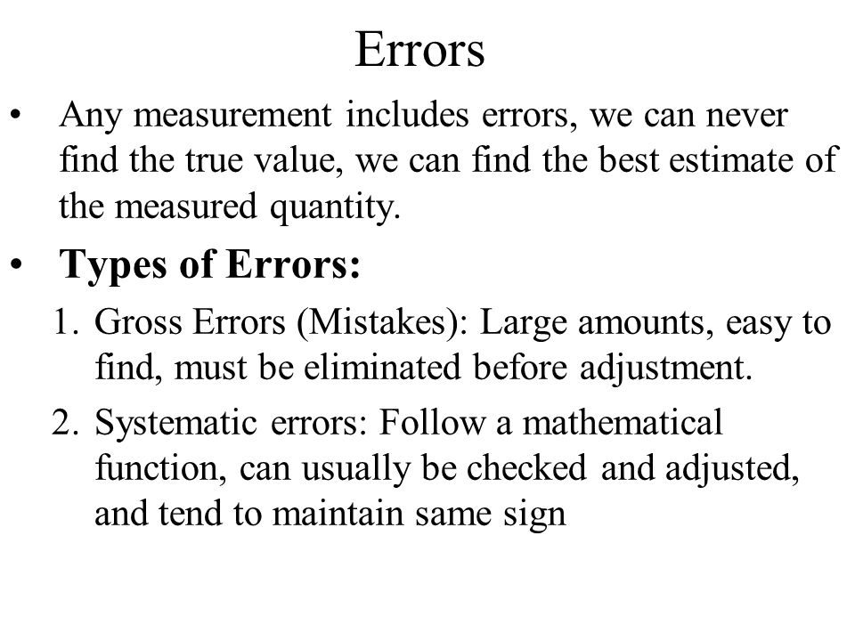 Errors Types of Errors: