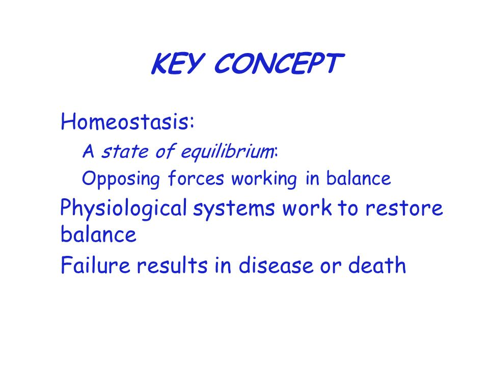 KEY CONCEPT Homeostasis: Physiological systems work to restore balance