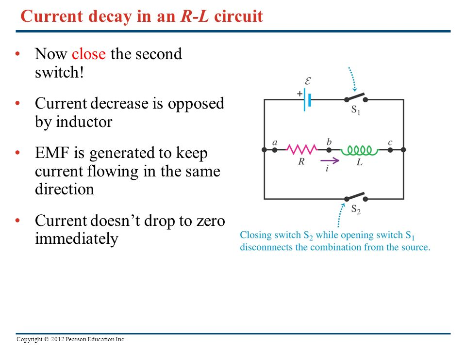 Current decay in an R-L circuit