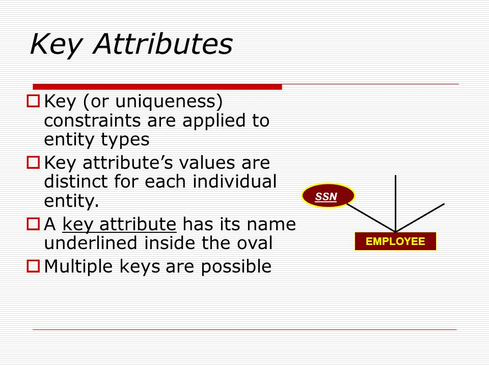 Key Attributes Key (or uniqueness) constraints are applied to entity types. Key attribute's values are distinct for each individual entity.
