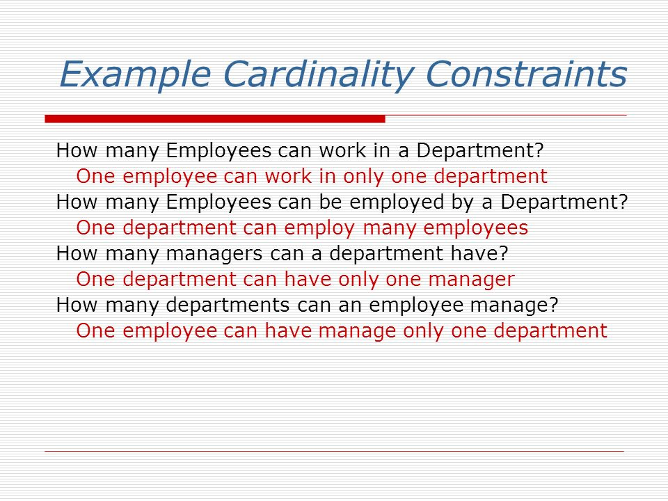 Example Cardinality Constraints