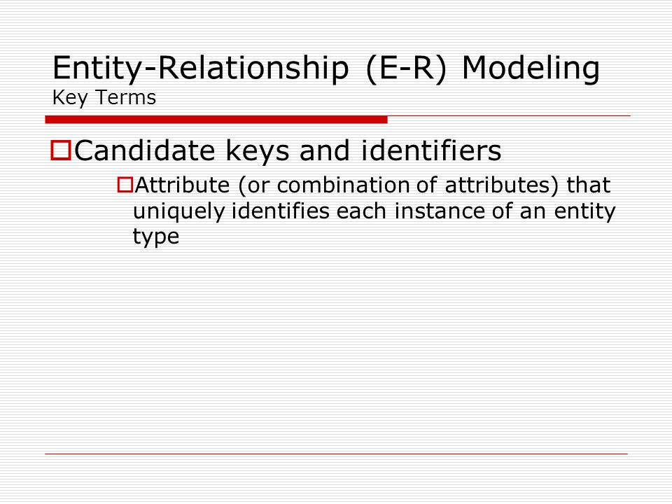 Entity-Relationship (E-R) Modeling Key Terms