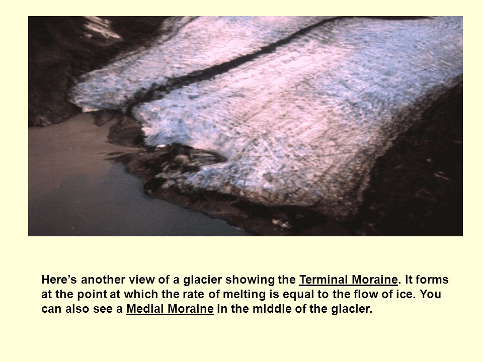 Here's another view of a glacier showing the Terminal Moraine. It forms