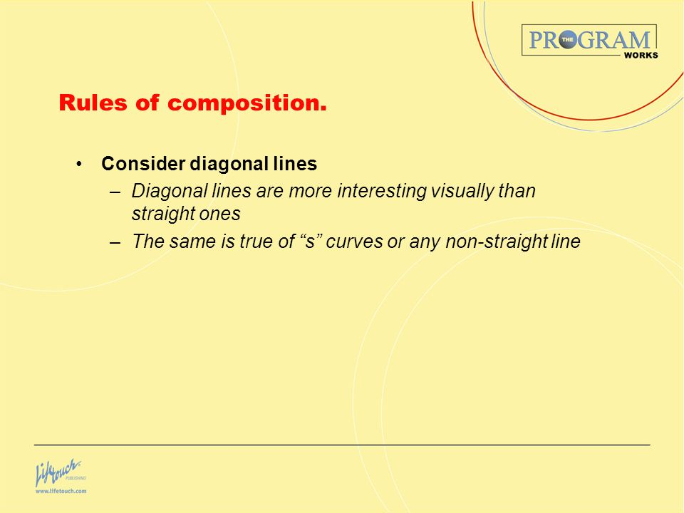 Rules of composition. Consider diagonal lines