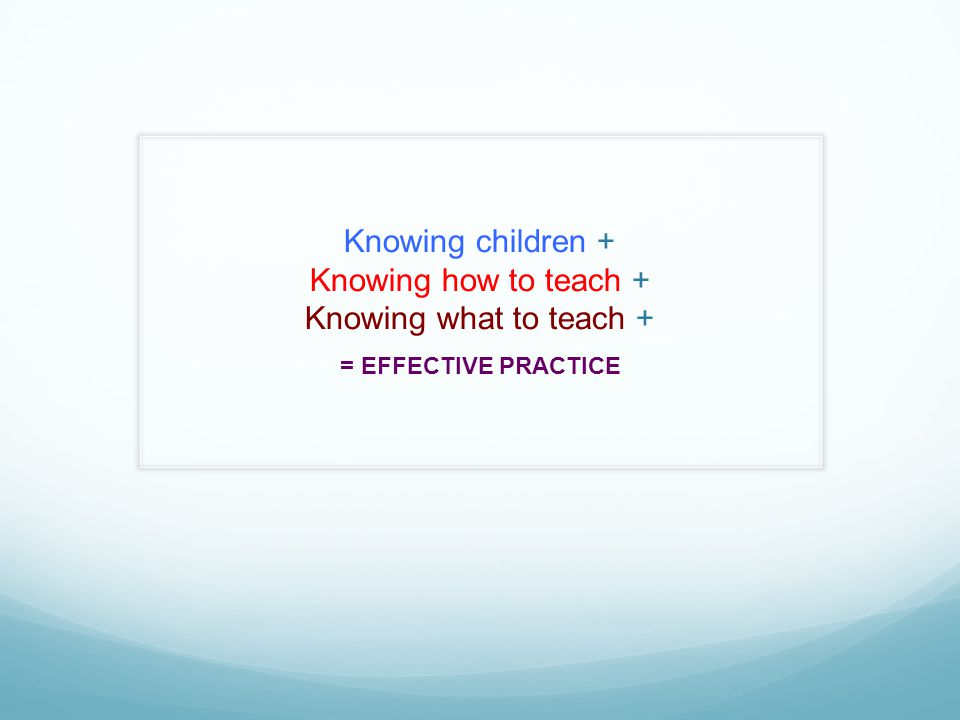 Knowing children + Knowing how to teach + Knowing what to teach +