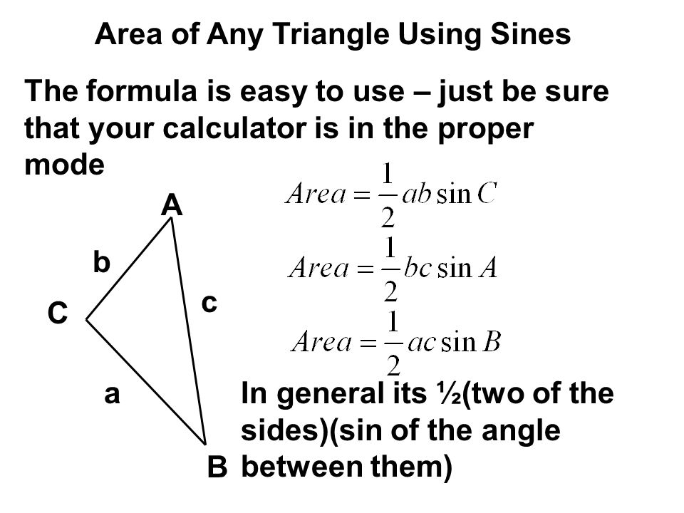 Area of Any Triangle Using Sines