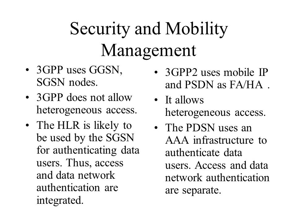 Security and Mobility Management