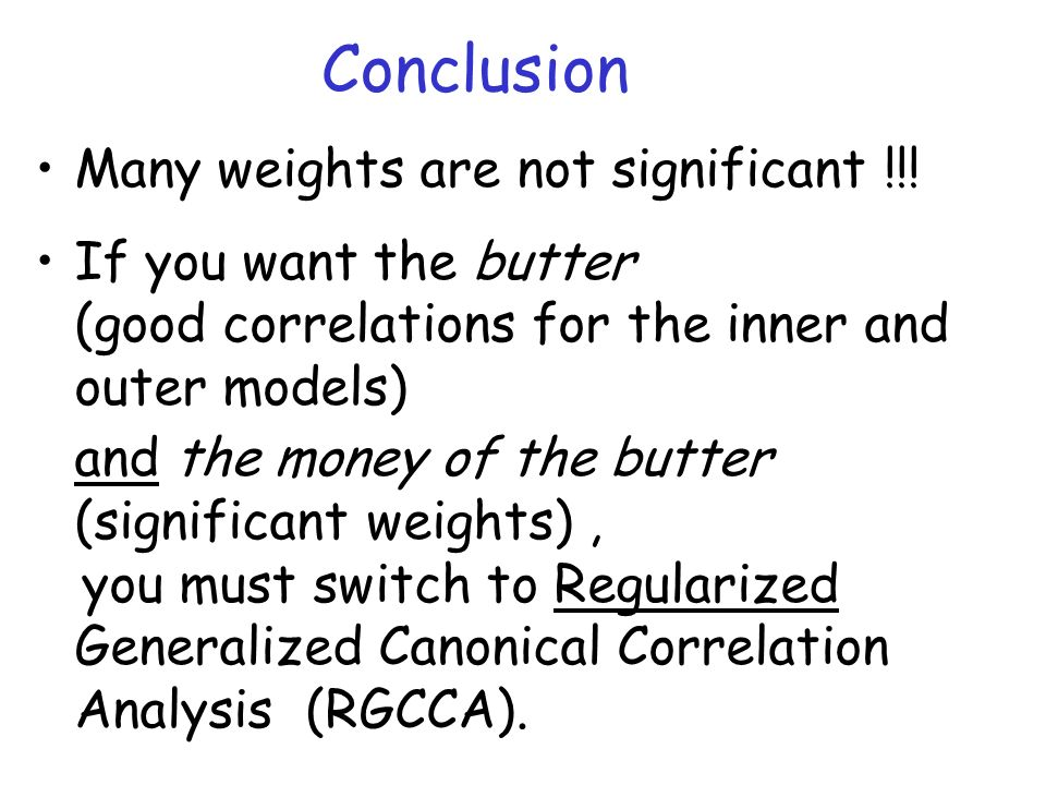 Conclusion Many weights are not significant !!!