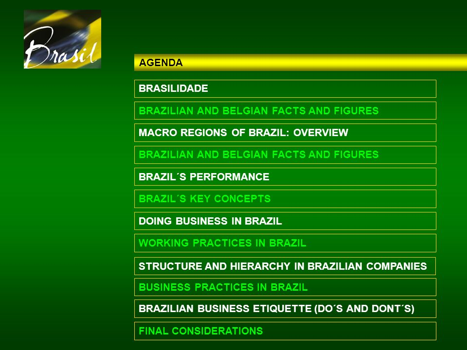 AGENDA BRASILIDADE. BRAZILIAN AND BELGIAN FACTS AND FIGURES. MACRO REGIONS OF BRAZIL: OVERVIEW. BRAZILIAN AND BELGIAN FACTS AND FIGURES.