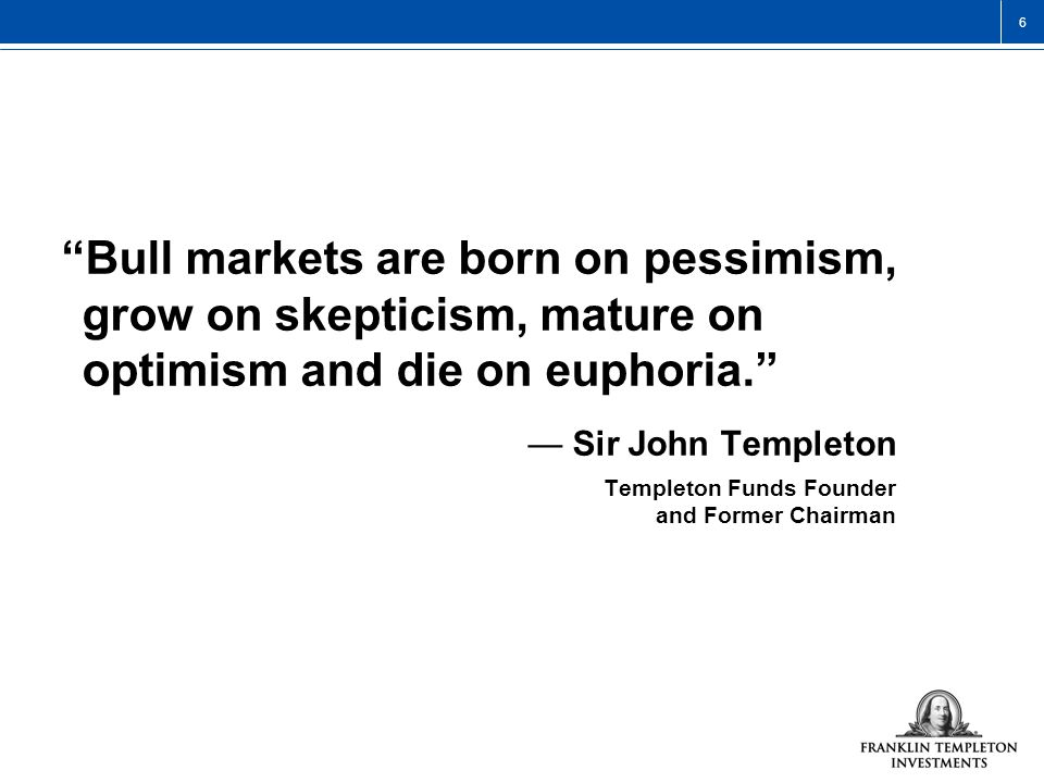 3/25/2017 9:55 AM Bull markets are born on pessimism, grow on skepticism, mature on optimism and die on euphoria.