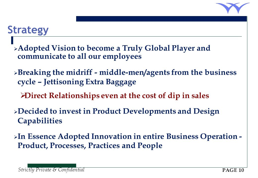 Strategy Adopted Vision to become a Truly Global Player and communicate to all our employees.