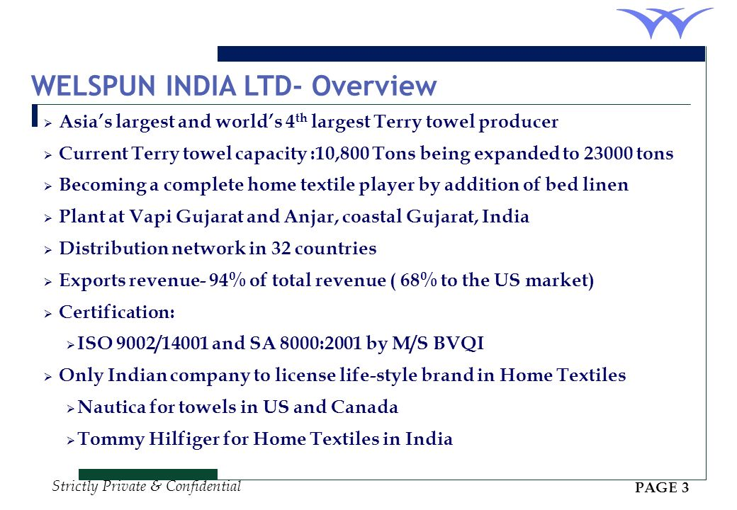 WELSPUN INDIA LTD- Overview