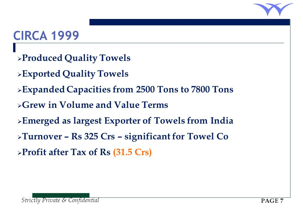 CIRCA 1999 Produced Quality Towels Exported Quality Towels