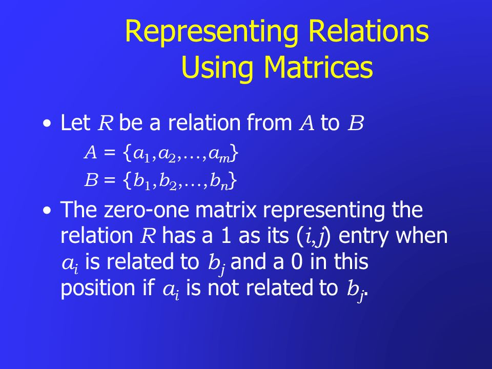 Representing Relations Using Matrices