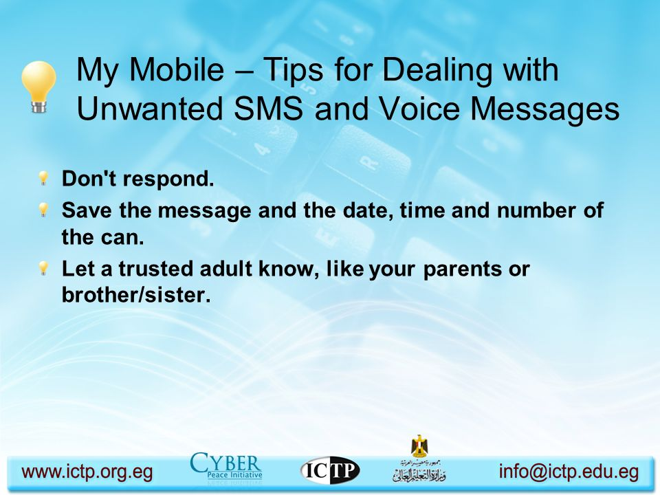 My Mobile – Tips for Dealing with Unwanted SMS and Voice Messages
