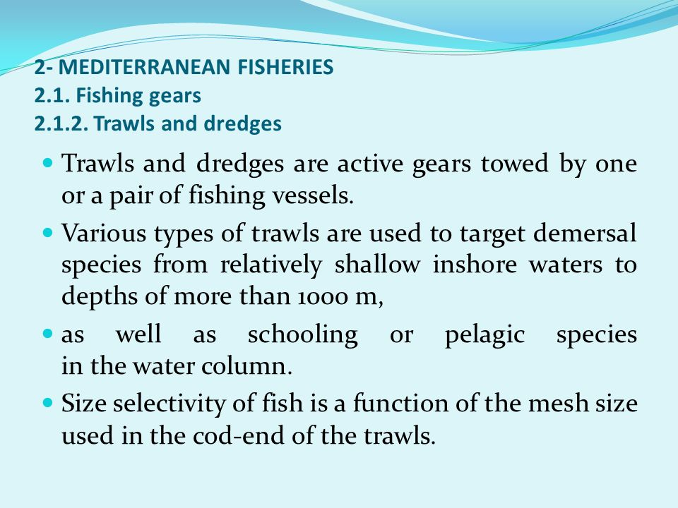 as well as schooling or pelagic species in the water column.
