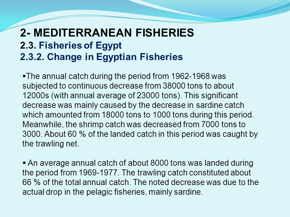 2- MEDITERRANEAN FISHERIES Fisheries of Egypt