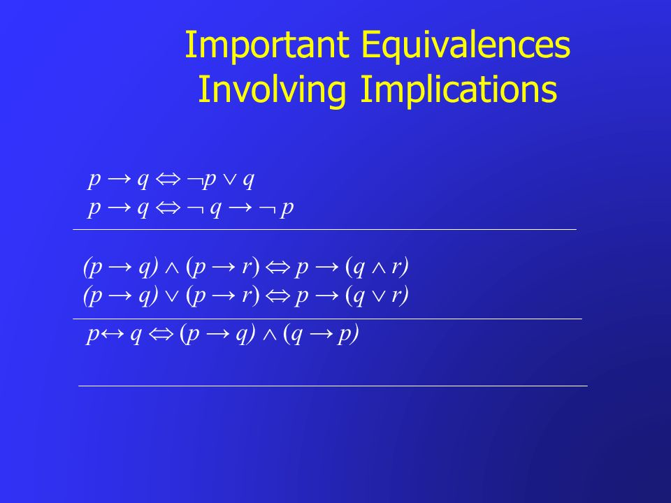 Important Equivalences Involving Implications