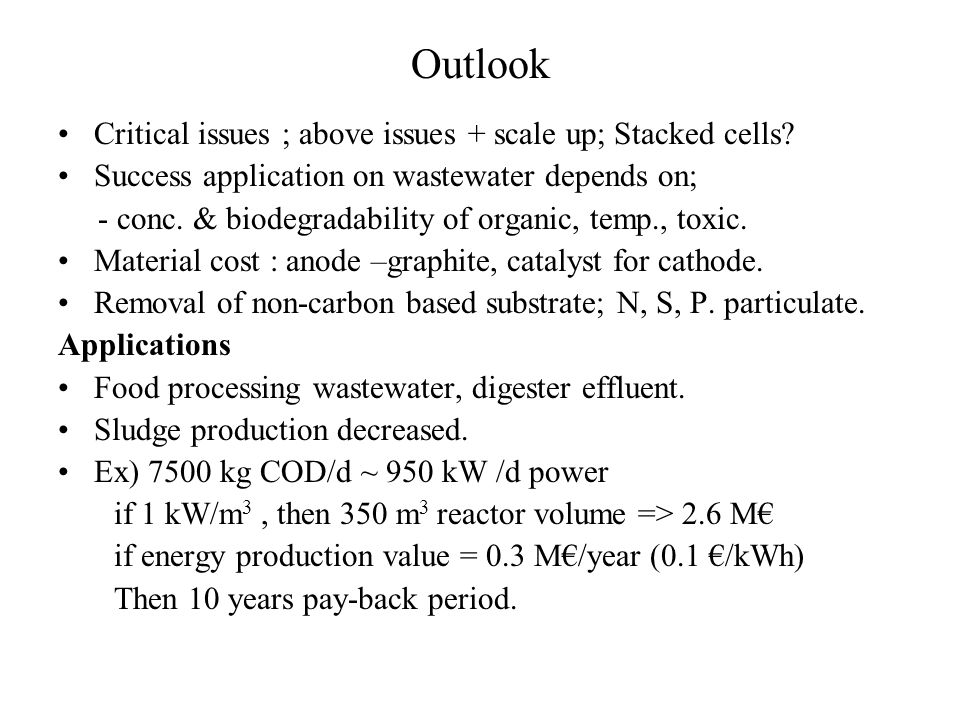 Outlook Critical issues ; above issues + scale up; Stacked cells