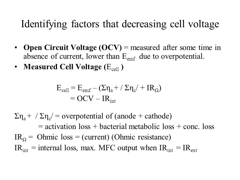 Identifying factors that decreasing cell voltage