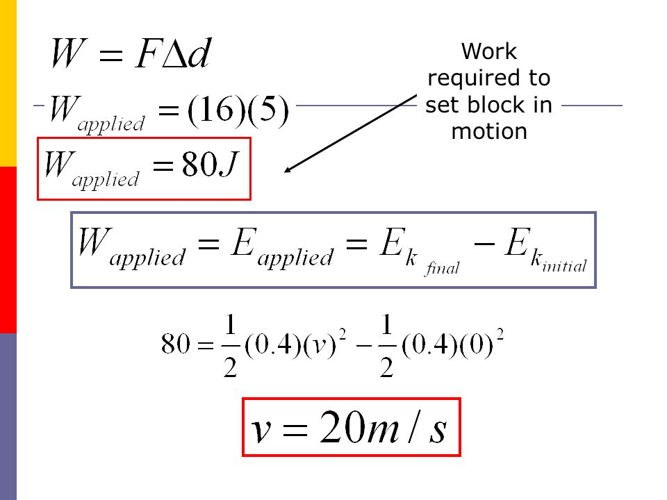 Work required to set block in motion