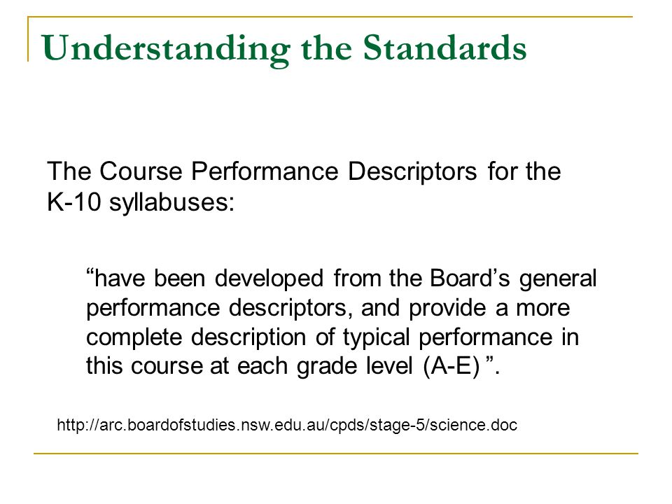 Understanding the Standards
