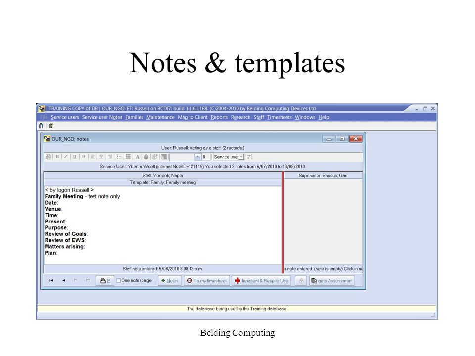 Notes & templates Belding Computing