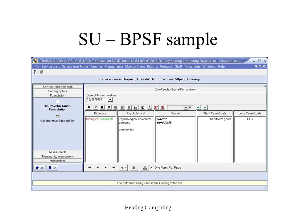 SU – BPSF sample Belding Computing