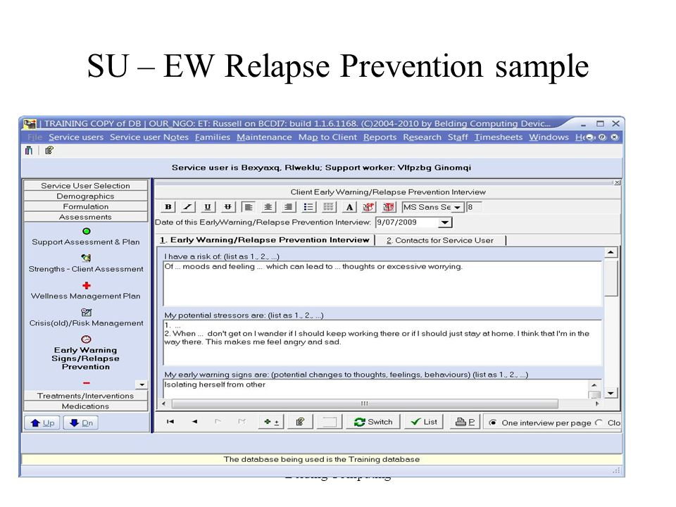 SU – EW Relapse Prevention sample