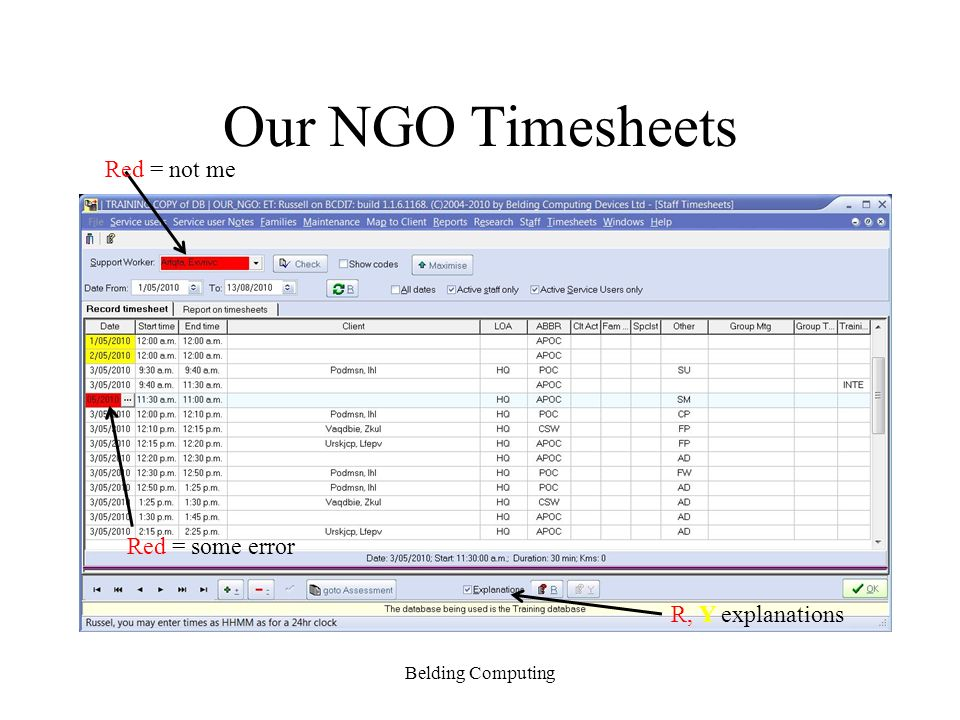 Our NGO Timesheets Red = not me Red = some error R, Y explanations