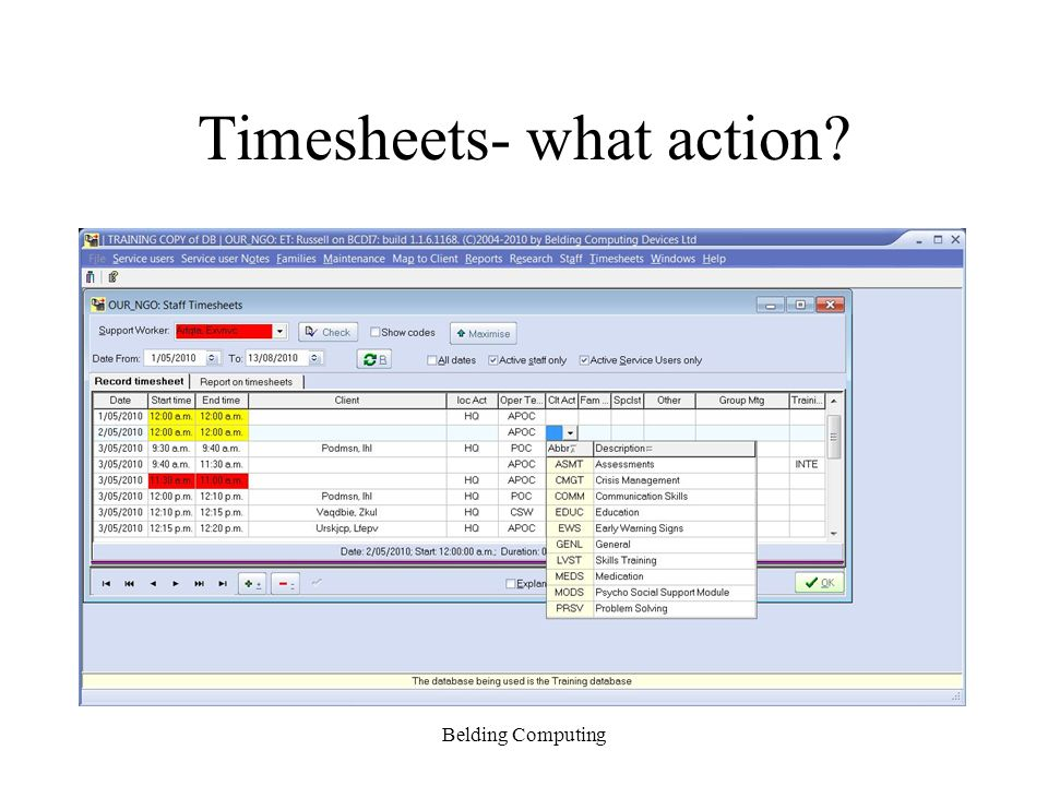 Timesheets- what action