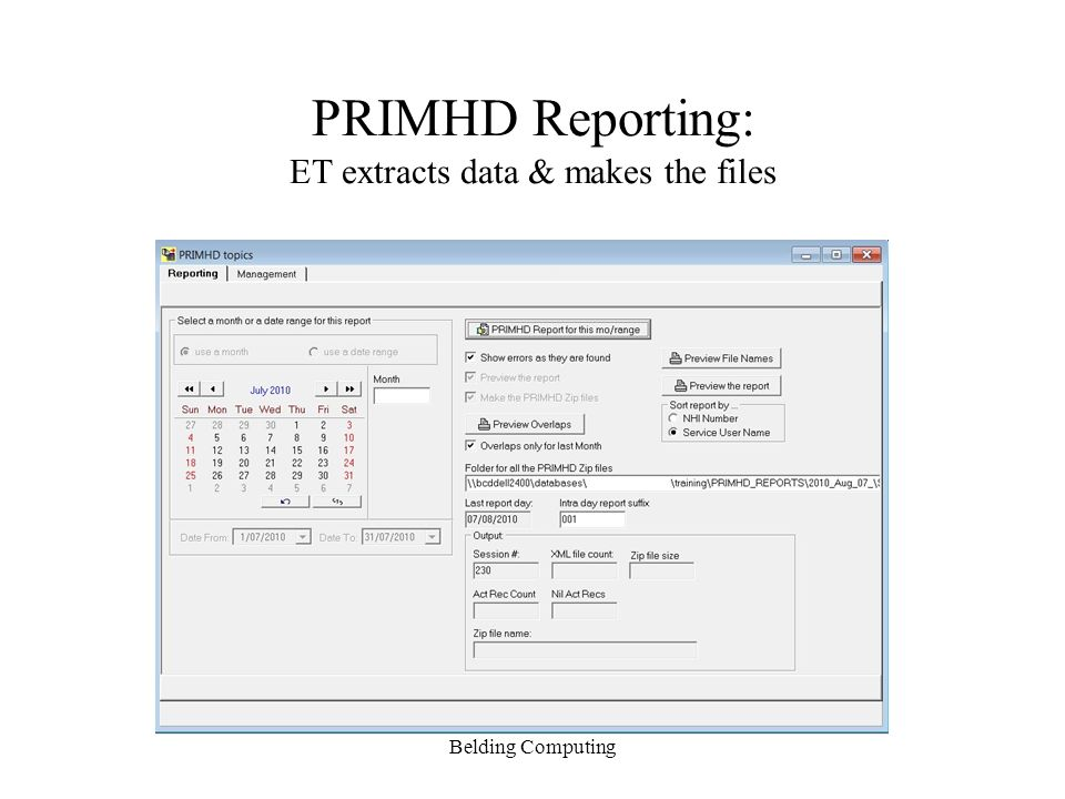 PRIMHD Reporting: ET extracts data & makes the files