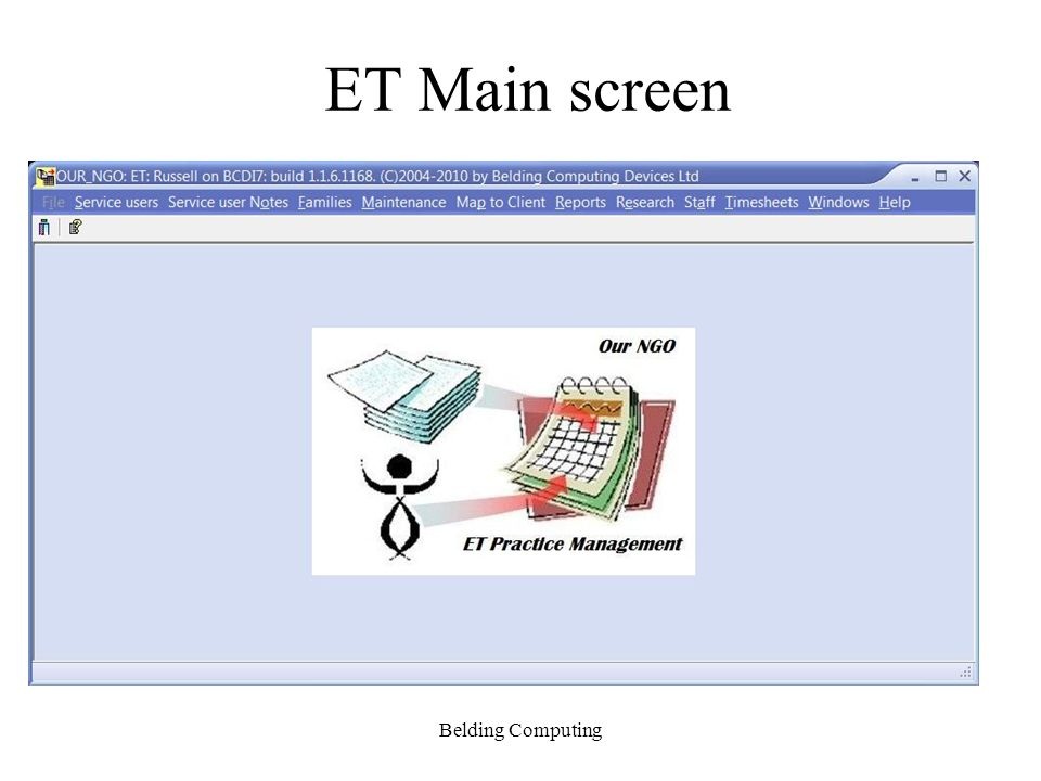 ET Main screen Belding Computing