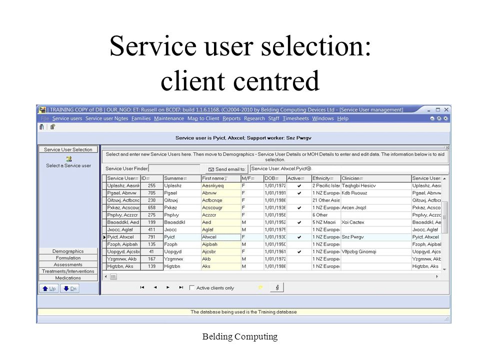 Service user selection: client centred