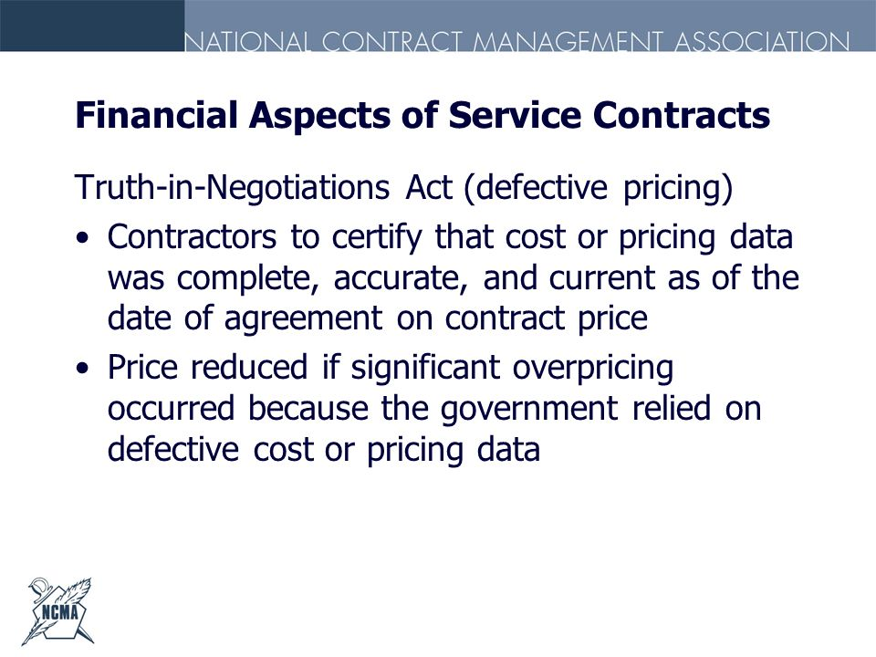Financial Aspects of Service Contracts