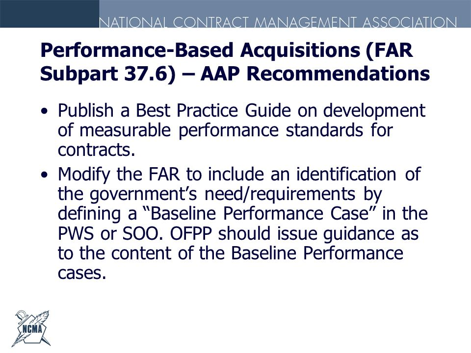Performance-Based Acquisitions (FAR Subpart 37