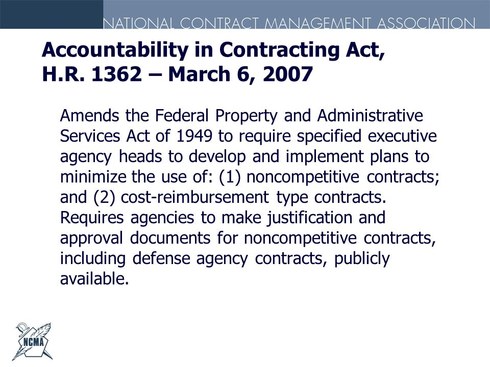 Accountability in Contracting Act, H.R. 1362 – March 6, 2007