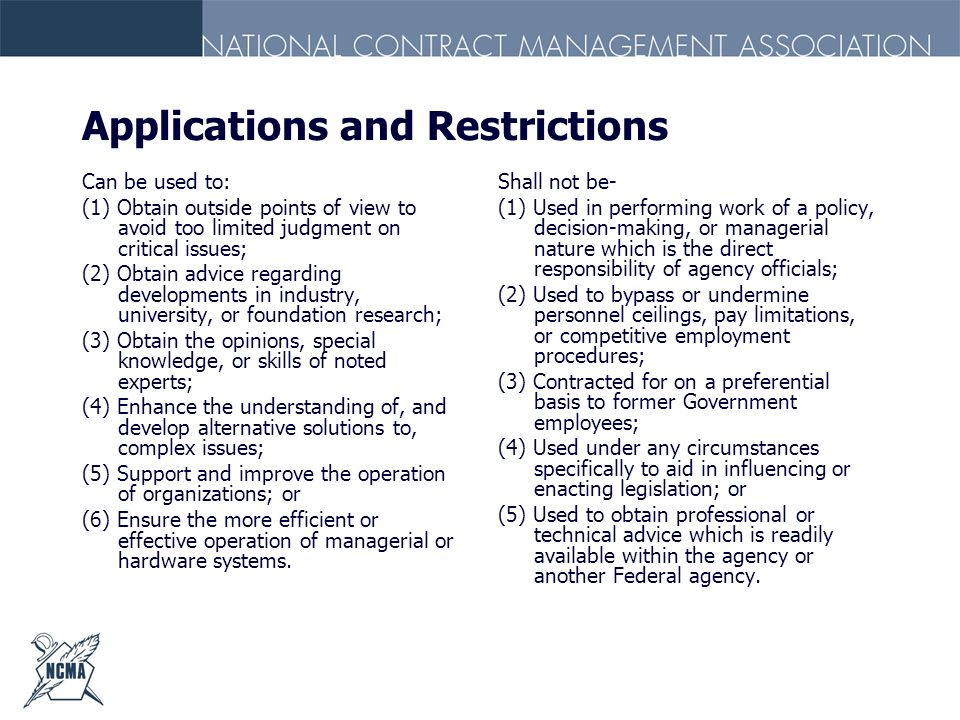 Applications and Restrictions