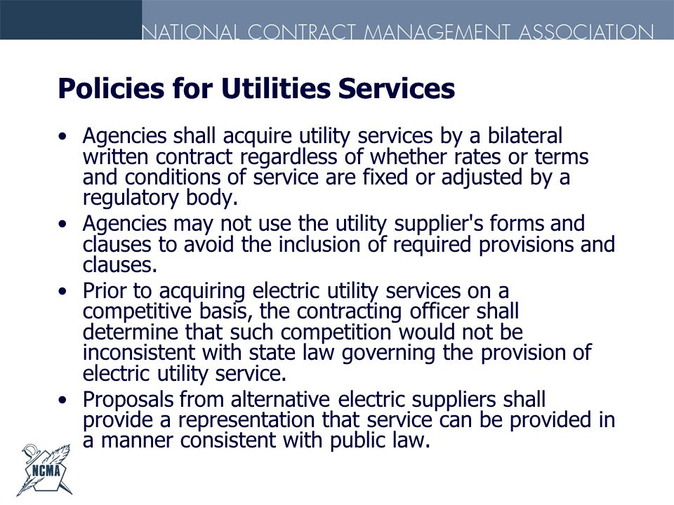 Policies for Utilities Services