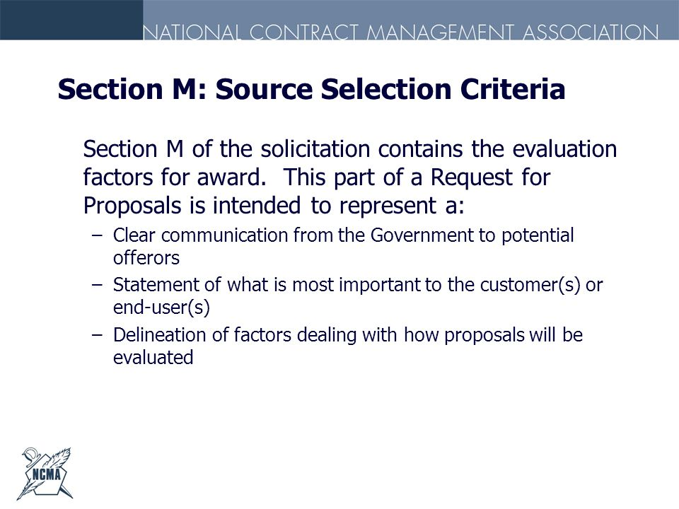 Section M: Source Selection Criteria