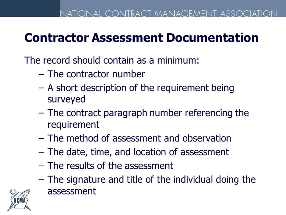 Contractor Assessment Documentation