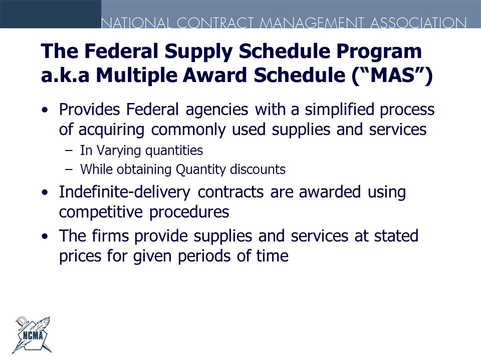 The Federal Supply Schedule Program a. k