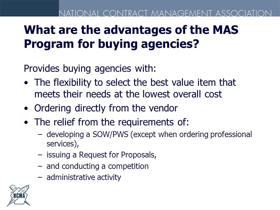 What are the advantages of the MAS Program for buying agencies